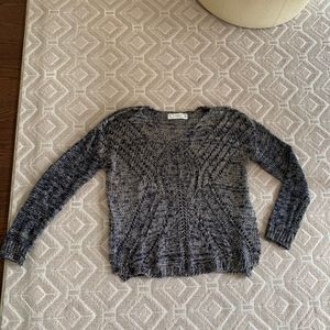 Open Knit Blue and White Sweater